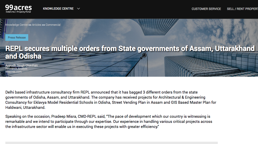 REPL secures multiple orders from state governments of Assam, Uttarakhand & Odisha